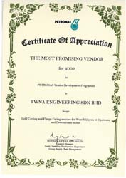 THE MOST PROMISING VENDOR (PETRONAS) 2009